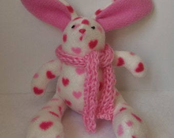Easter Bunny: White Bunny with Pink Hearts and Scarf