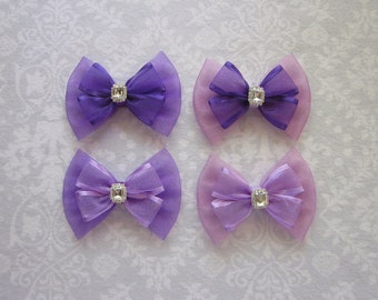 Satin Organza and Shimmer Tulle Bows, Purple Lavender Lilac, Pearl Rhinestone Silver Gold, School Hair Accessory, Flower Girl, Wedding