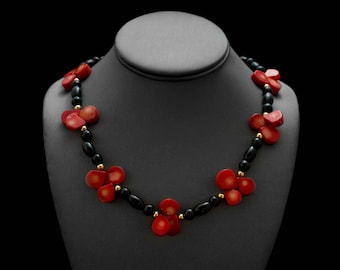Coral Onyx Necklace/ Red Black Necklace/ Red Drop Necklace/ Red Teardrop Jewelry/ Black Gold Necklace