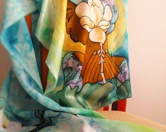 """Silk scarf """"Between two continents"""" handpainted"""