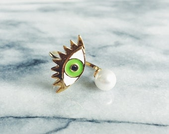 Gold Plated Evil Eye Ring in Green - Designer Ring, Gold Ring, Pearl Ring, Adjustable Ring, Stacking Ring, Statement Ring, Cocktail Ring