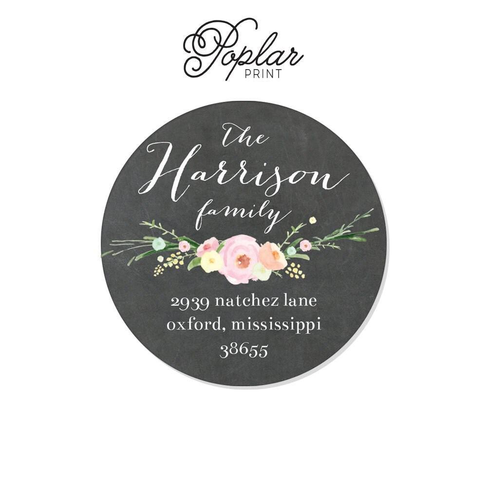 Round Wedding Invitation Label 1: 2 Inch Round Personalized Address Labels Stickers Chalkboard