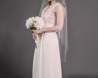IRENE VEIL | short wedding veil, bridal veil, bridal illusion tulle, white, diamond white, ivory