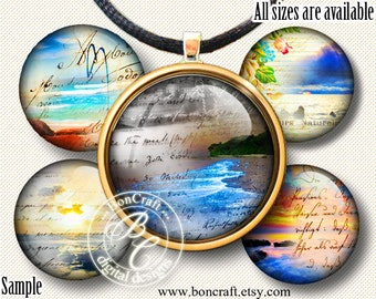 """Vintage Style Ocean Sun and Sunset bottle cap images - 1'' circles, 25mm, 30mm, 1.25"""", 1.5"""" for Jewelry Making, BUY 2 GET 1 FREE"""