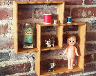 Vintage Mid Century Wall Shelf, Interlocking Wood, Knick Knack Shelf