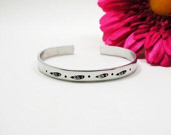 Feather Bracelet Cuff - Custom Bracelet Cuff - Personalized Bracelet - Custom Cuff - Handstamped Cuff - Aluminum Cuff - Custom Bracelet