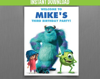 Disney Monsters Inc. Birthday Welcome Sign with Boo - Instant Download and Edit with Adobe Reader