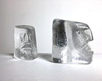 Pair Vintage Erik Hoglund Glass Face Sculpture Bookends Paperweights Mid Century Modern