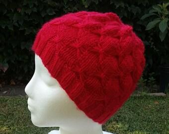 Red knit hat, Knit hat for women, butterfly hat