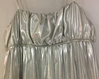 Eve Stillman Silver Lame Lingerie, 1980s Spaghetti Strap Slip Dress, Silver Foil Maxi Dress, Size Small