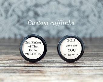 Godfather of the bride , godfather of the groom , godfather cufflinks , personalized cufflinks , wedding keepsake ,