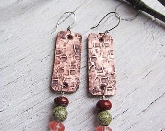 Textured Earrings, Rustic Earrings, Long Earrings, Copper Earrings, Dangle Earrings, Statement Earrings, Boho Earrings, Earthy Earrings