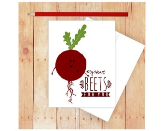 My Heart Beets for You Card, Funny Anniversary Card, Food Pun, Funny Valentine Card, Vegetable, Beet Art, Funny Pun Card, Funny Love Card