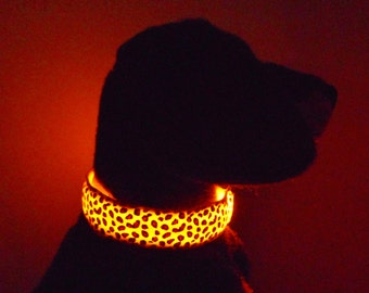 Light up pet or dog LED collar in cheetah, leopard or camo camouflage flashes & glows in dark: red, blue, orange, green, pink, white, yellow