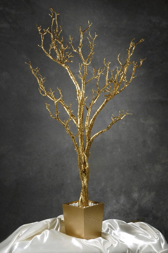Wishing tree gold potted table centerpiece by