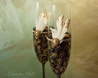 Gold Wedding Champagne Flutes Wedding Champagne Glasses Gatsby Style Wedding Toasting Flutes Gold and Black Wedding