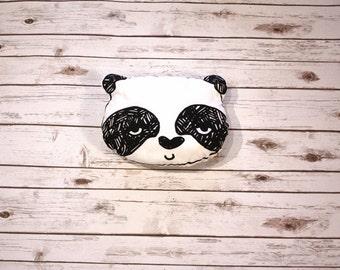 Monochrome, Black & White Panda Pillow, Stuffed Toy, Custom-printed design