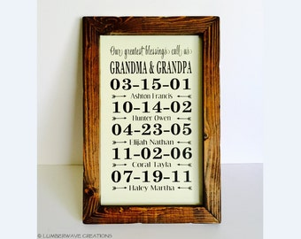 Our Greatest Blessings Call Us Grandma And Grandpa Sign Gift For Grandparents Special Dates Sign With Grandchildren Birthdays