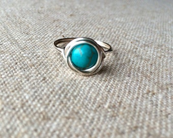 Turquoise Silver Wire Wrapped Ring - sized to order - December birthstone