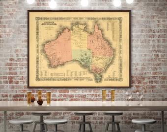"Map of Australia 1864, Vintage Australian map reprint  - home decor  - 2 color choices & 4 large/XL sizes up to 48"" x 36"""