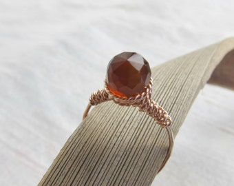 Amber Chalceony 14K Rose Gold Filled Handmade Gem Wrapped Ring