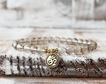 yoga bracelet gold om bracelet smoky quartz bracelet