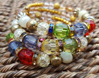 Multi Colored Gold Plated Wrap Bracelet