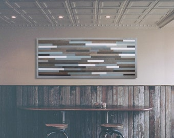 Large Reclaimed Wood Wall Art -- Blue, Brown, & Grays --
