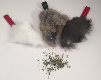 Catnip Filled Rabbit Fur Mouse Shaped Cat Toy Kitten size