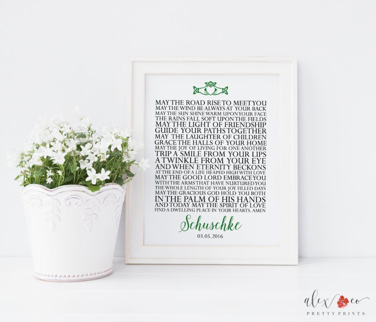 Wedding Gift Bags Ireland : Personalized Wedding Gift. Irish Blessing. by alexandcoprintables