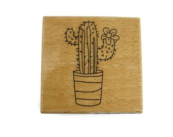 Cactus Rubber Stamp | Succulent Stamp | Western Stamp | Stationery Stamp | Cacti Stamp | Potted Cactus Rubber Stamp | Succulent Rubber Stamp