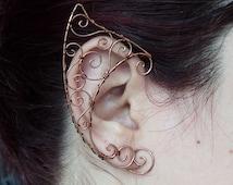 Elf ear cuff copper Elven ears wire wrapped earcuff in copper cosplay fantasy Fairy LOTR cosplay props small swirls