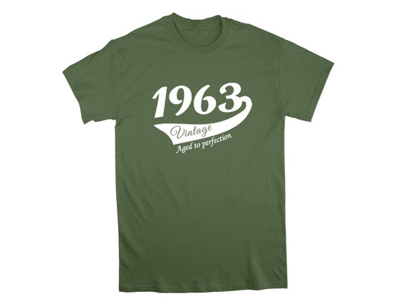 1963 birthday T-shirt, Men Lady Unisex, Sizes S to 2XL, More colours available, Crew neck - Vintage