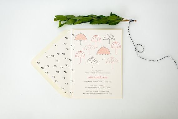 umbrella bridal shower invitation  - customizable (sets of 10)  //  lola louie paperie