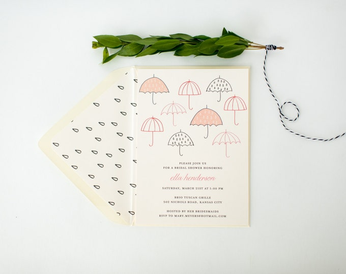umbrella bridal shower invitation  - customizable (sets of 10)  //  umbrella pink gray blush bridal shower invite