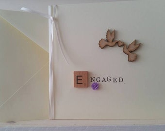 Engagement Card for Mr and Mrs, Mrs and Mrs or Mr and Mr : Personalised Handmade Card with Wooden Doves