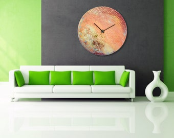 Planet Art, Astronomy Art, Planetary clock, Large Circular Clock, Abstract Glass, Painting,Unique Wall Lighting,Oversized Wall Clock, Decor