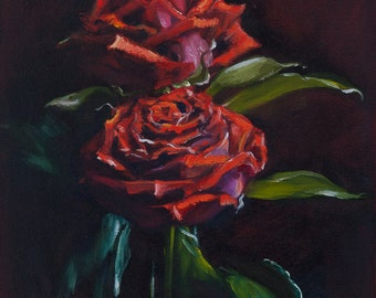 Oil Painting Red Roses Floral Original Artwork Home Decor Wall Decor Wall Hanging Art 22x27.5cm