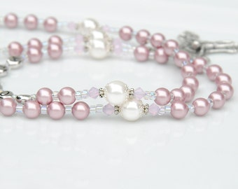 Personalized Dusty Rose Pink and White Name Rosary-Swarovski Crystal Baptism Gift, First Holy Communion, Confirmation, Catholic Christening