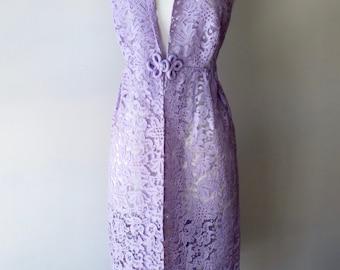 1960s lavender bed jacket + Vintage french lace lingerie