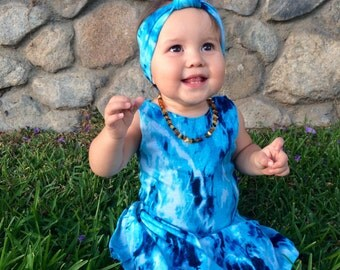 Boho baby girls dress, tie-dye girls dress, Baby girls summer dress