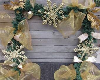 9' Christmas Garland Gold Garland Snowflake Garland Greenery Garland Gold leaf Garland Deco Mesh Greenery Garland Gold Snowflake Decor