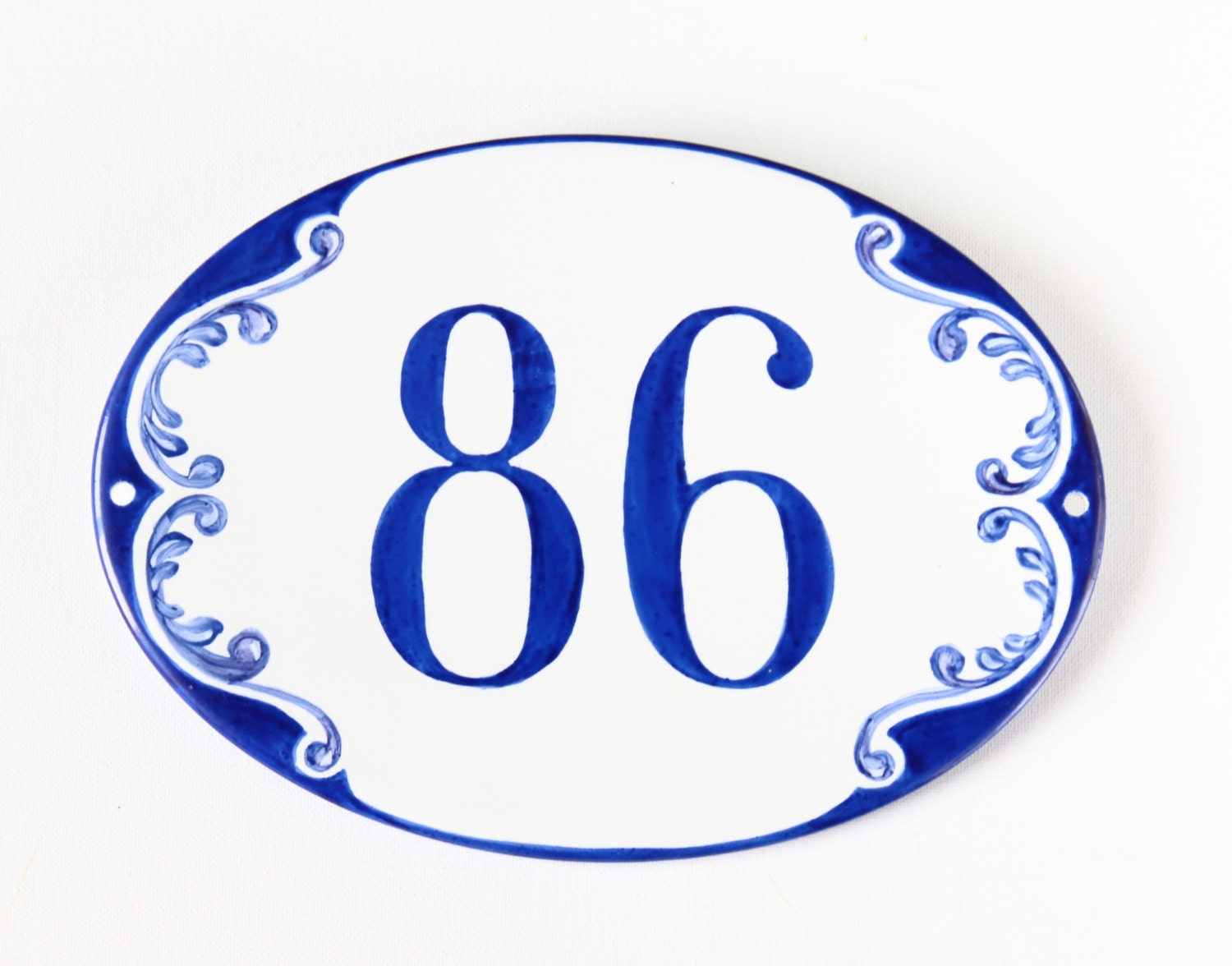 Oval custom house number plaque ceramic address plaque blue zoom dailygadgetfo Choice Image
