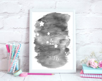 Taurus Zodiac Constellation– Wall Art - Alcohol ink/Mixed Media Poster Print