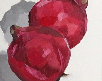 fruit art - pomegranate painting - original still life oil painting - pomegranate art - kitchen wall art - 6 x 6  - foodie gift ideas