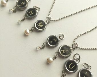Typewriter Key Charm, Vintage, Typewriter, Typewriter Key Necklace, Letters, H, M, W, Numbers