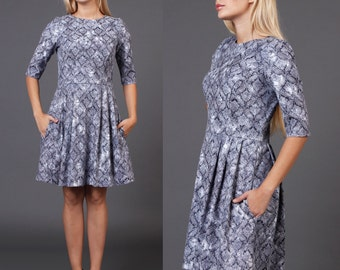 3/4 Sleeve Fit and flare printed dress with pockets, Fitted bodice sleeved mini dress with pockets