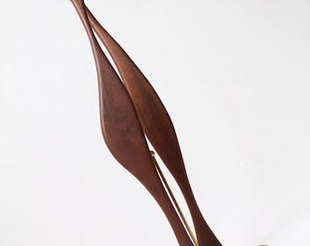 34 in.  DANISH SCULPTURE 1960 made in teak  vintage mid century era