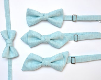 Father Son Bow Ties - Blue Matching Set - Dad and Son Bow Ties - Groom and Ring Bearer Bow Ties. Light Blue Bow Ties