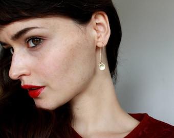 Simple Gold Earrings Gold Filled Earrings Gold Dangly earrings Gold Disc Earrings Gold Jewelry minimalist earrings modern jewelry gold drop